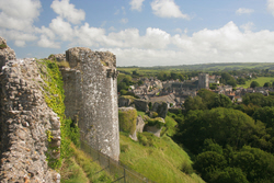 Village of Corfe Castle seen from the Castle walls