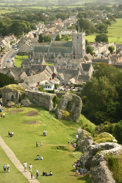 View of Corfe from the Castle